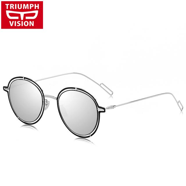 Triumph vision 2017 rodada do vintage óculos de sol das senhoras ouro circel óculos armação de metal óculos de sol mulheres gradiente elegante fêmea