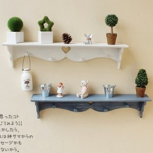 American Style Wooden Wall Rack Storage Rack with 4 Hook Storage Shelf White or Blue Wall & Home Decor