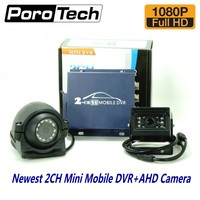 2ch mini AHD dvr car Mobile DVR Kits with 1080P AHD Cameras Realtime 2 Channel Video/Audio Vehicle DVR support dual SD card slot