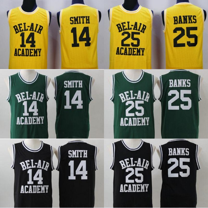 5add61bfd8af Will Smith Jersey 25 Carlton Banks Basketball Jerseys Stitched Men Movie  Basketball T-shirts S-3XL