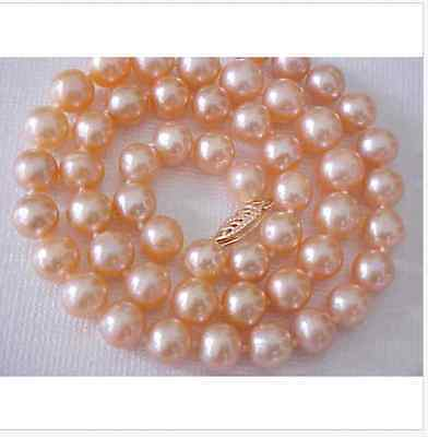 classic AAA9-10mm south sea gold pink pearl necklace 18inch >Selling jewerly free shipping
