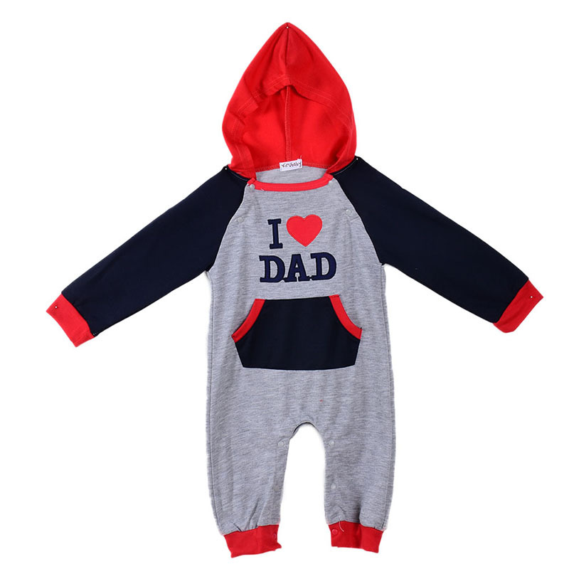 I Love MOM and DAD Baby Autumn Hooded font b Rompers b font Grow Long Sleeve