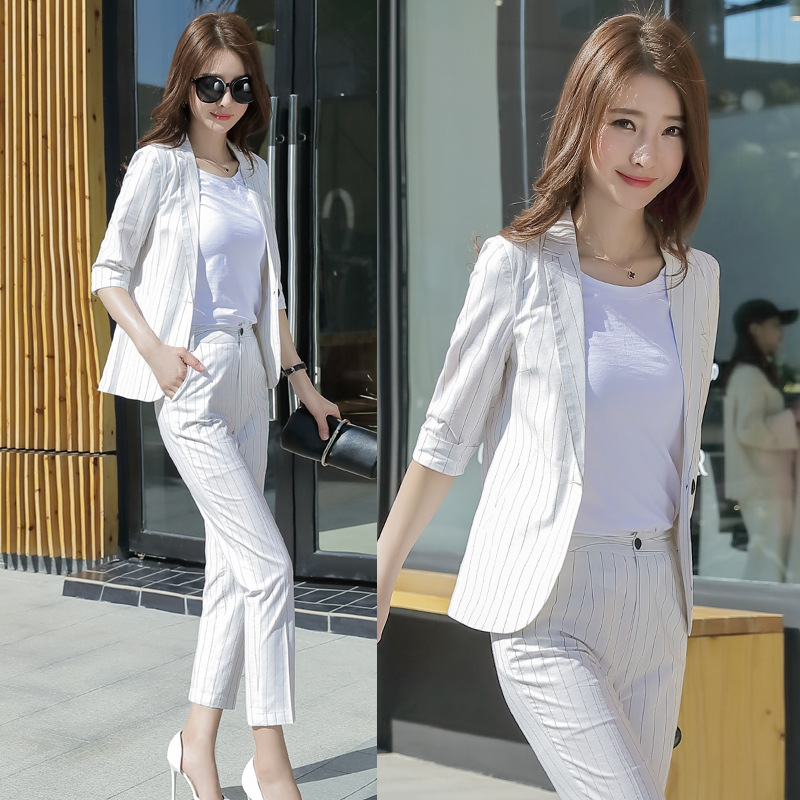 2019 Spring Autumn Small Striped Suit Jacket + Trousers OL Suit for Female Office Lady Work Blazer Ninth Pants Suit