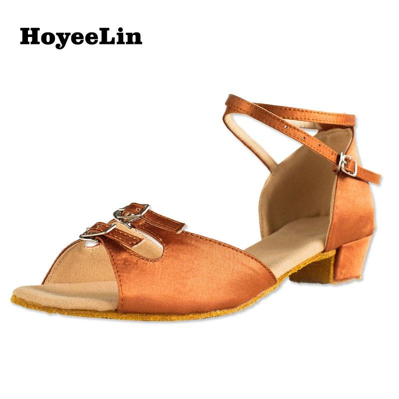 HoYeeLin tacón bajo zapatos de Danza Latina mujer señoras abierto Toe satén Latina salón de baile Salsa zapatos de baile sandalias