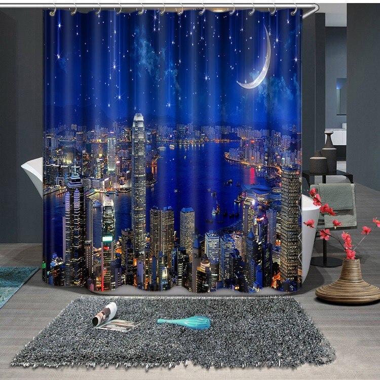La ville sous la nuit 3D rideaux occultants sain non-pollution impression numérique personnalisé conception nappe rideau de douche lit