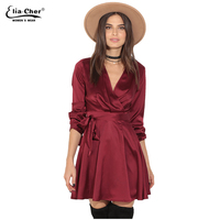 סתיו נשים חדשות סקסי ארוג v-צוואר מלא שרוול dress איליה cher בגדים בגודל בתוספת של נשים לעטוף סאטן שמלות vestidos 8616