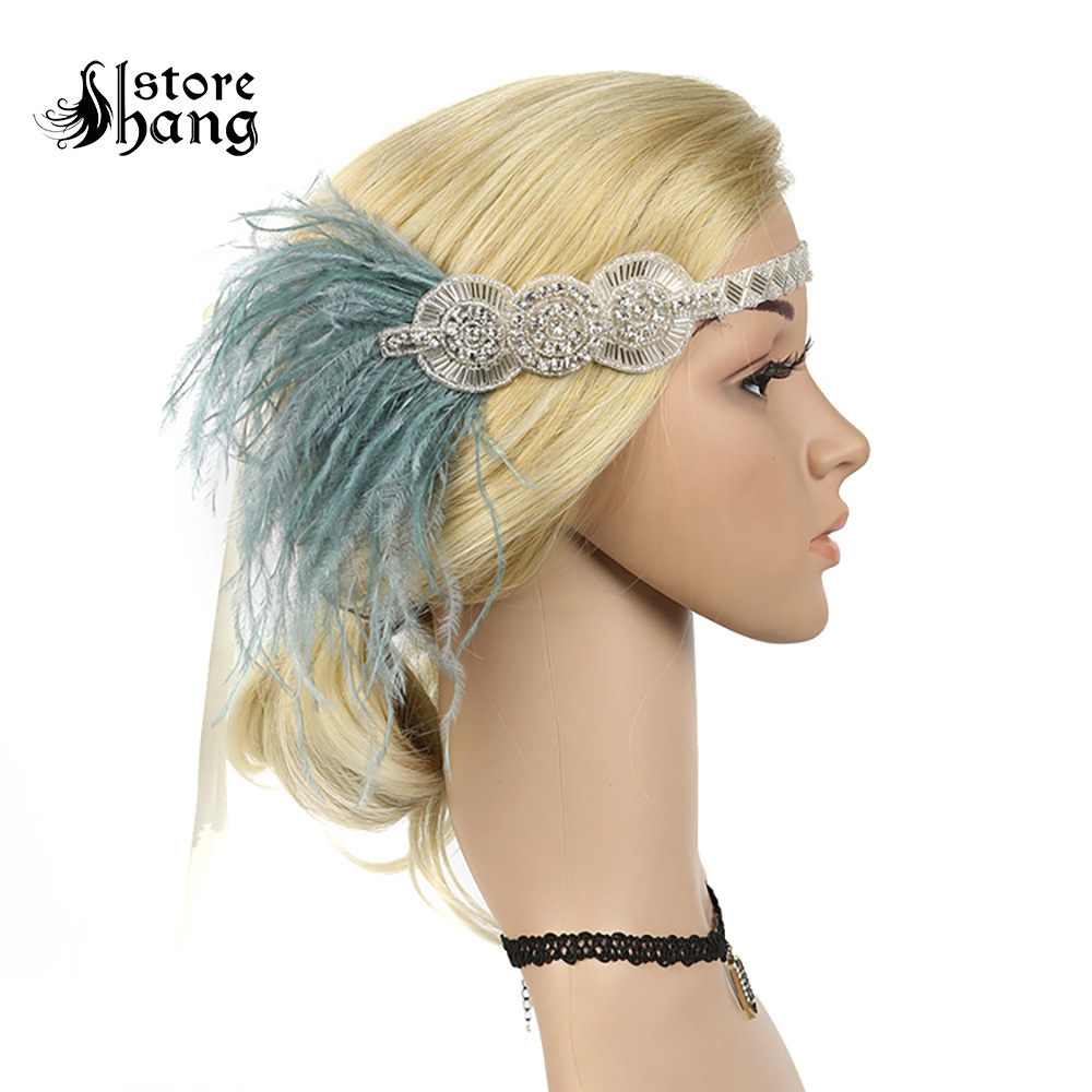 Vintage Roaring 20s Headpiece Art Deco 1920s Gatsby Flapper Headband With Feather Antique Retro Style Bridal Hair Accessories headpiece