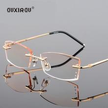 fashion luxury Diamond Trimmed Eyeglasses Rimless Glasses Men Women Titanium Anti-blue light Goggles Myopia Frame s829