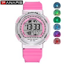PANARS Colorful Luminous Digital Watch For Kids Children Sports Boy 2018 Clock Girl Electronic Wrist Watches Waterproof
