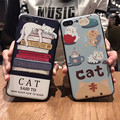 For iPhone 6 Case TPU Case Cartoon Cat pattern soft covers for iPhone 7 7plus case Ultra-thin Relief case free shipping