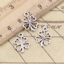 20pcs Charms lucky irish four leaf clover 17x14mm Tibetan Silver Plated Pendants Antique Jewelry Making DIY Handmade Craft(China)