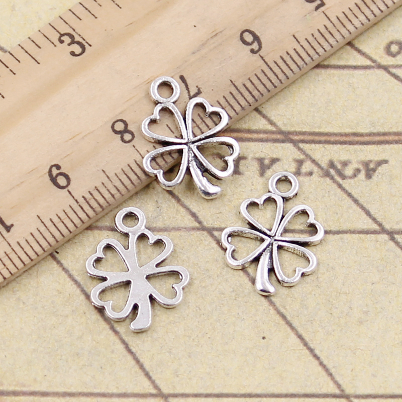 20pcs Charms Lucky Irish Four Leaf Clover 17x14mm Tibetan Silver Color Pendants Antique Jewelry Making DIY Handmade Craft(China)