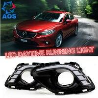 2PCs/set waterproof car DRL LED Day lamp LED Daytime Running lights drl set For MAZDA 6 Atenza 2013 2014 2015