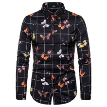 2019 Spring and Autumn Features Printed Shirt Mens Casual Long-sleeved New Slim