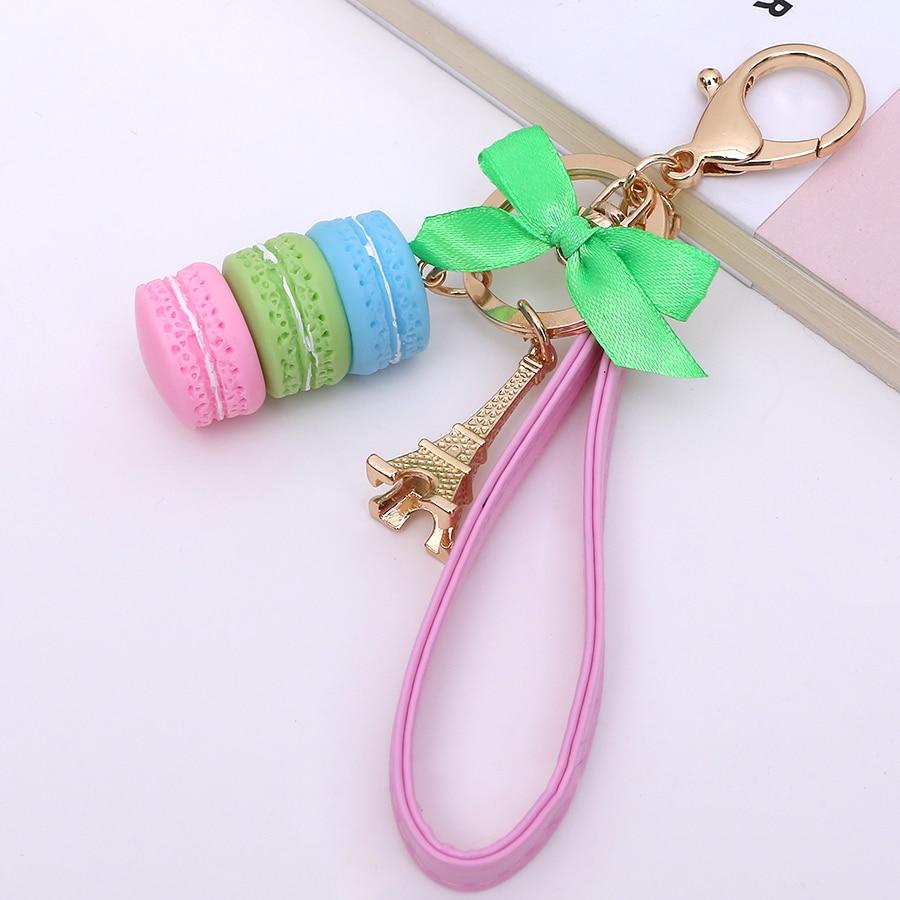 1PCS Creative Novelty trinket In France Tower cake macarons car keychain charm women handbag key chain bag decoration gift