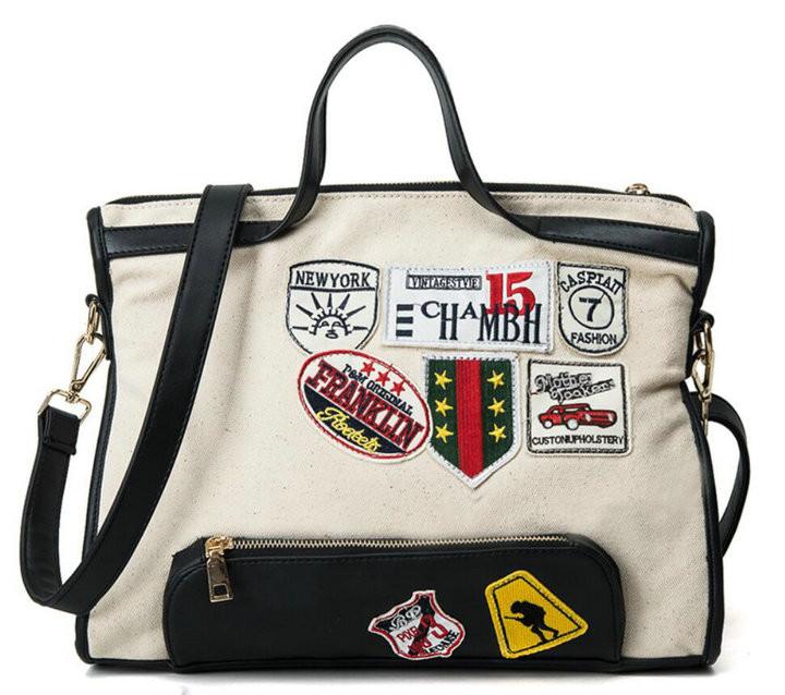 5c92a6516971 New Canvas Shoulder Bag Women Street Beat Badge Handbag Ladies Large  Capacity Casual Tote Handbag Patch Messenger Bag H80