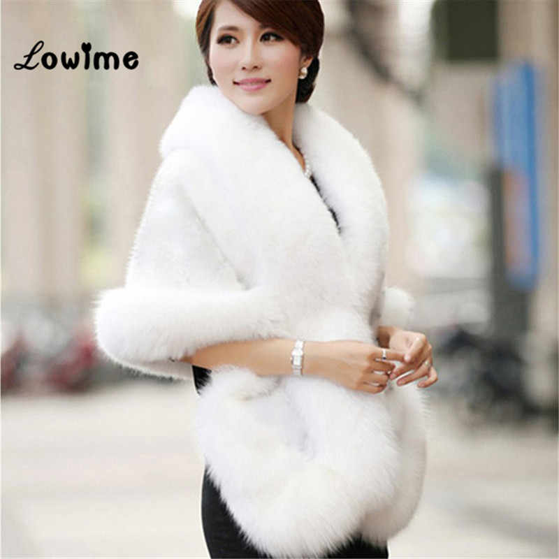 Faux Fur Bolero Women Bridal Shawl Fur Shawl In Stock Wedding Bolero Fur Cape Mariag Cloak Fast Shipping Cape Dress Wedding Coat
