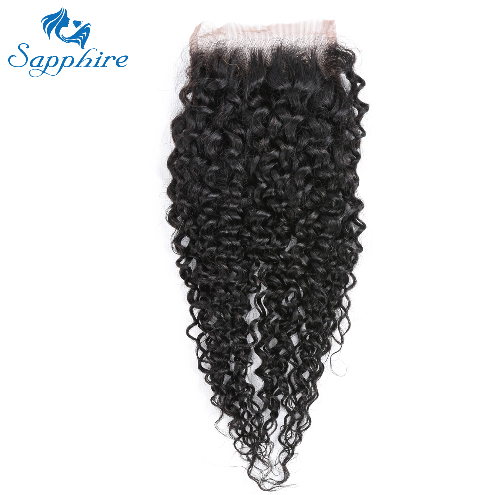 Sapphire Kinky Curly Remy Hair 4 4 Lace Frontal With Baby Hair 1B Color For Hair