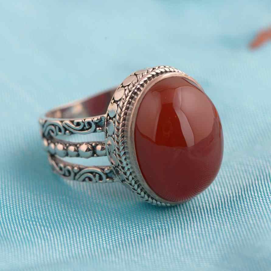 สีแดง Agate แหวน 925 เงินสเตอร์ลิง Vintage เงินไทยธรรมชาติรูปไข่หินยุ้ยขนาดใหญ่แหวนสตรี