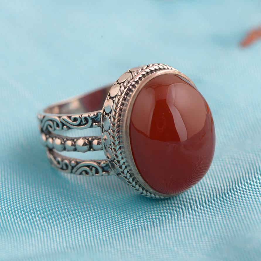 Image 2 - Red Agate Ring 925 Sterling Silver Vintage Thai Silver Oval 