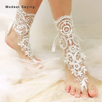 New Arrival Real Classic Ivory Lace Wedding Barefoot Sandals 2019 Anklet Shoes Leg Chain Bridal Beach Ankle Bracelets for Women