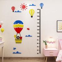 Baby 3d self adhesive height wall sticker Cartoon animal hot air balloon acrylic plastic ins children's room decoration stickers