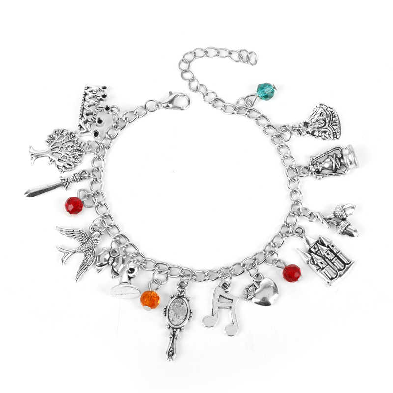MQCHUN Snow White Charm Bracelet Fashion Once Upon a Time Fairy Tale Jewelry Pendant Crystal Bead Bangle Bracelet For Women Girl