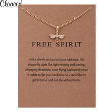 Cloaccd Fashion Gold Color Dragonfly Pendant Necklace for Women Free Spirit Long Chain Necklace Birthday Gifts With Card