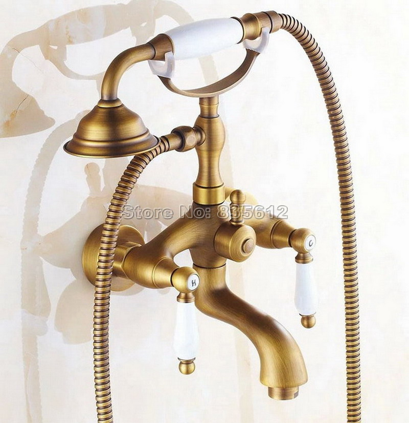 Bathroom Classic Antique Brass Telephone Style Handheld Shower Head Dual Handles Bath Tub Mixer Tap Wall Mounted Faucet Wtf314 luxury wall mounted antique brass clawfoot bathtub faucet telephone style bath shower water mixer tap with handshower