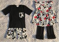 2017 wholesale baby girl flutter mickey pearl Capri Pants set and boy mickey outfits shorts set baby summer boutique clothing