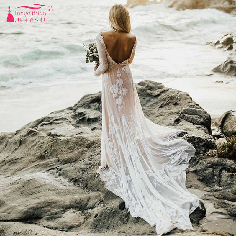 09c8fc4c839 Nude Linging Long sleeve Wedding Dresses 2019 Sexy Backless Boho Beach  Bridal GYPSY Lace Appliques robe