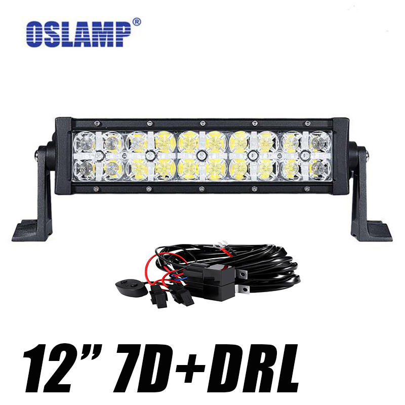 Oslamp 7D 12 100W LED Light Bar Spot Flood Combo Beam DRL Offroad Bar Light for SUV ATV 4x4 4WD Truck Trailer Pickup 12v 24v стоимость