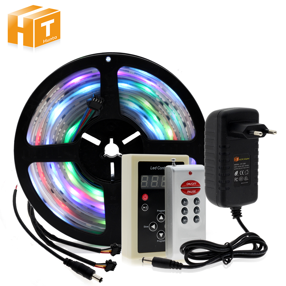 все цены на 6803 IC Dream Color RGB LED Strip 5050 SMD 30LED/m IP67 Waterproof Chasing Magic Color Tape + RF Magic Controller + Power Adapte онлайн