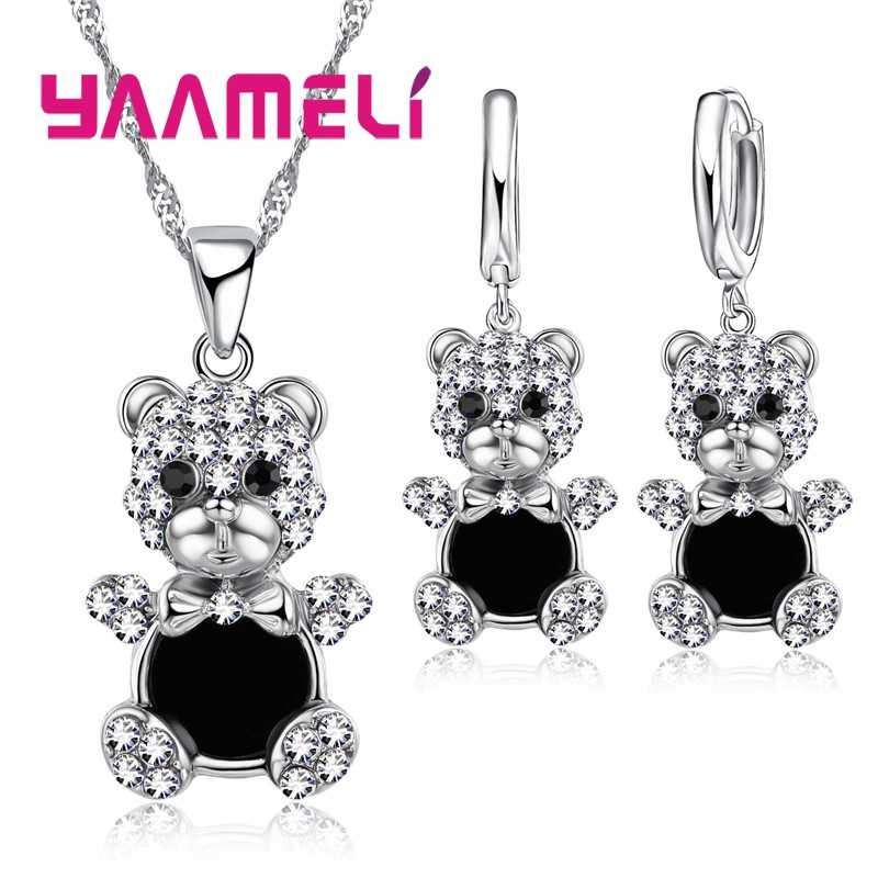 Lovely Bear Pendant Necklace Earrings for Women Female 925 Sterling Silver Austrian Crystal Bridal Jewelry Sets