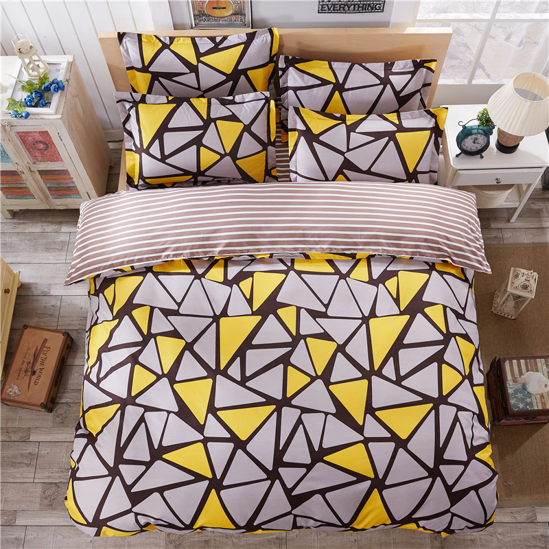 ayellow gray geometric bwhite brown stripes sided printed bedding sets super king
