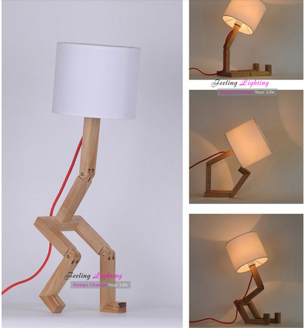 DIY Bedroom Lampshade Table Lamp Design Original Wood+White Fabric Table  Lamps Modern Robot Desk