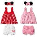 3 PCS Infantil Bebê Recém-nascido Meninas Minnie Mickey Mangas Bolinhas irritar Top Calças Vestido PP Bow Headband Outfits Define para 6-24 M