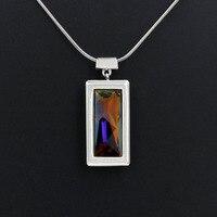 Fashion Genuine Austria Crystal Charm Pendant Necklace Stylish Glaring Rectangle Design Rhodium Plated For Lady Gift
