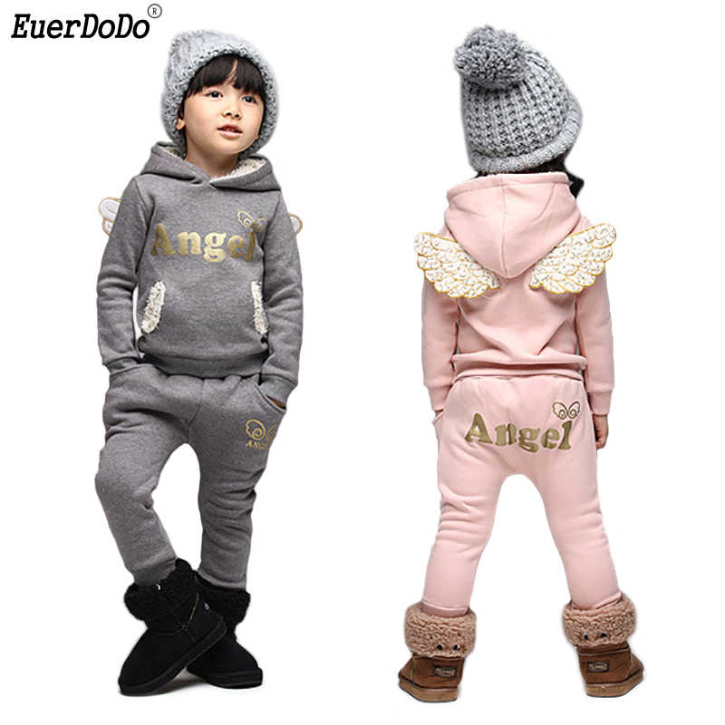 Kid Autumn Winter Suit Angel Hoodies Pants 2pcs For Boys Girls Clothing Set Fleece Children Clothing Set Cotton Kids Outfits