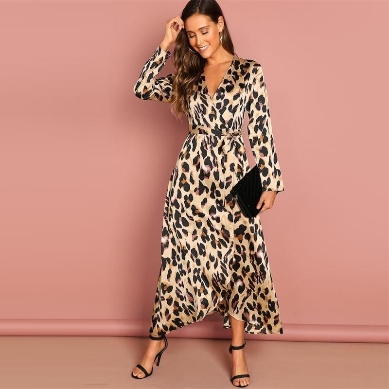 COLROVIE Deep V-Neck Surplice Wrap Satin Leopard Vintage Dress 2018 Long Sleeve Sexy Party Dress Ladies Fashion Long Dress 16