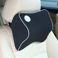 Car Safety Pillow Space Memory Foam Fabric Neck Headrest Car Covers Vehienlar Plaid Pillow Car Seat