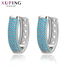 Xuping Elegant Simple Design Different materials with Turquoise Jewelry Environmental Copper Earrings For Women Gift 94357