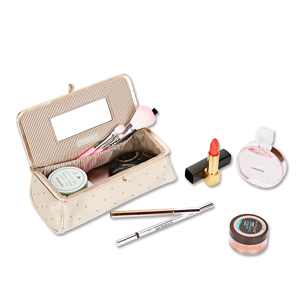New Arrival Women Pretty Makeup Bag With Mirror Portable Lipstick Cosmetic Bag Simple Makeup Organizer Toolbox Brush StorageCase ...
