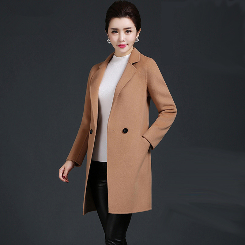 Ms Double sided wool In the long section Self cultivation suit collar Woolen font b jacket