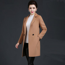 Ms Double-sided wool In the long section Self-cultivation suit collar Woolen jacket