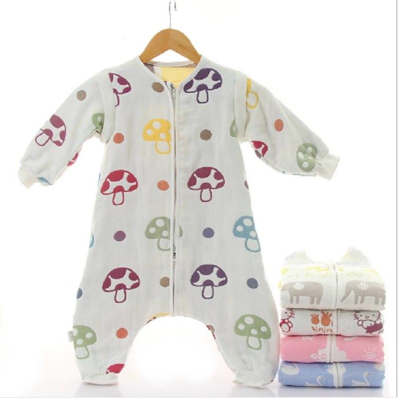 Child Sleeping Bag100% Muslin 6 Layers Cotton Comfortable Sleepsack Children Removable Sleeve Cute Cartoon Long Sleeve Sleep Bag
