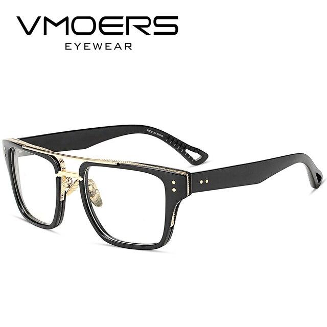 Vmoers Persegi Bingkai Kacamata Gaya Mewah Miopia Optik Kacamata Mata untuk  Pria Bening Lensa Palsu Bingkai cfcbc784a8