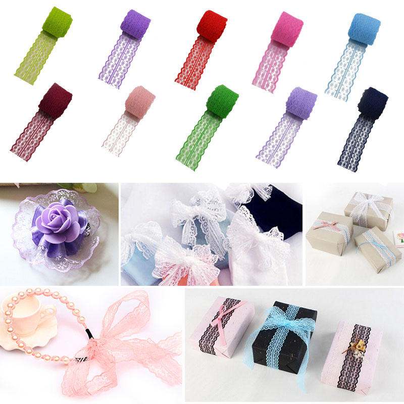1Roll 45mm*10m Lace Ribbon Lace Trim Fabric DIY Embroidered Sewing Handmade Accessories Wedding Decoration Net Lace Trim Ribbon