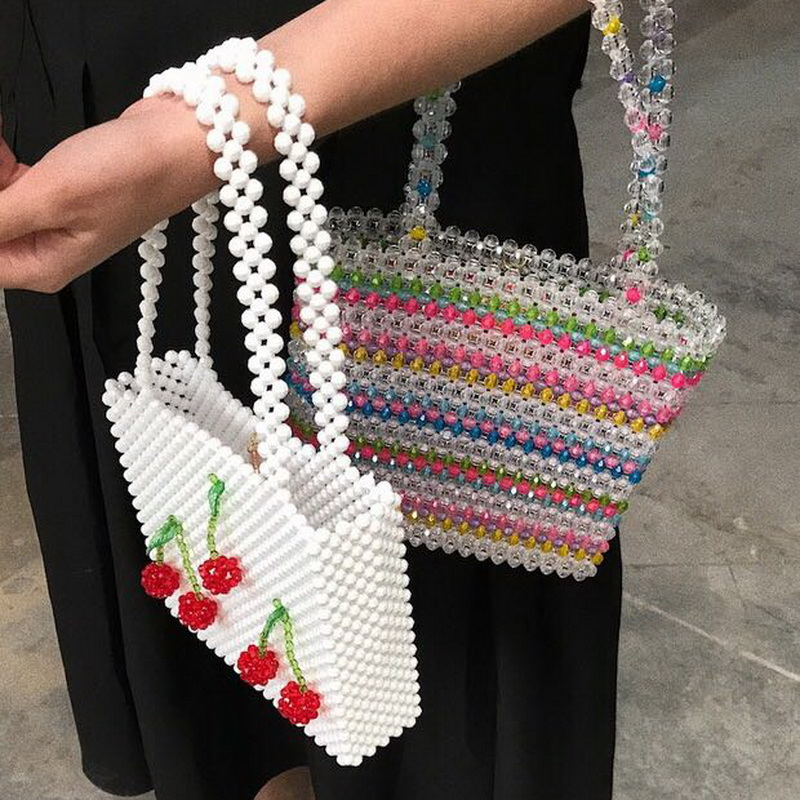 Luxury Women Bag Acrylic Pearl Tote Top-Handle Bucket Bag Brand Handmade Beaded Designer Handbags Ladies Party Evening Bags Girl цена 2017