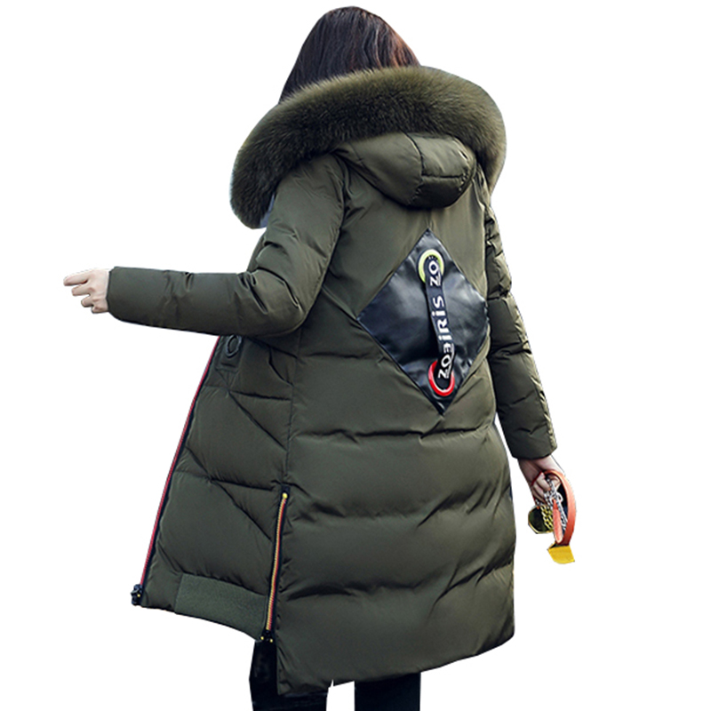 2017 Green winter coats jackets women long hooded fashion big Fur collar hooded thick warm Parkas plus size outerwear QH0668 2017 new fashion women long cotton coats size s 2xl hooded collar warm parkas winter black navy green color woman parkas qh0449
